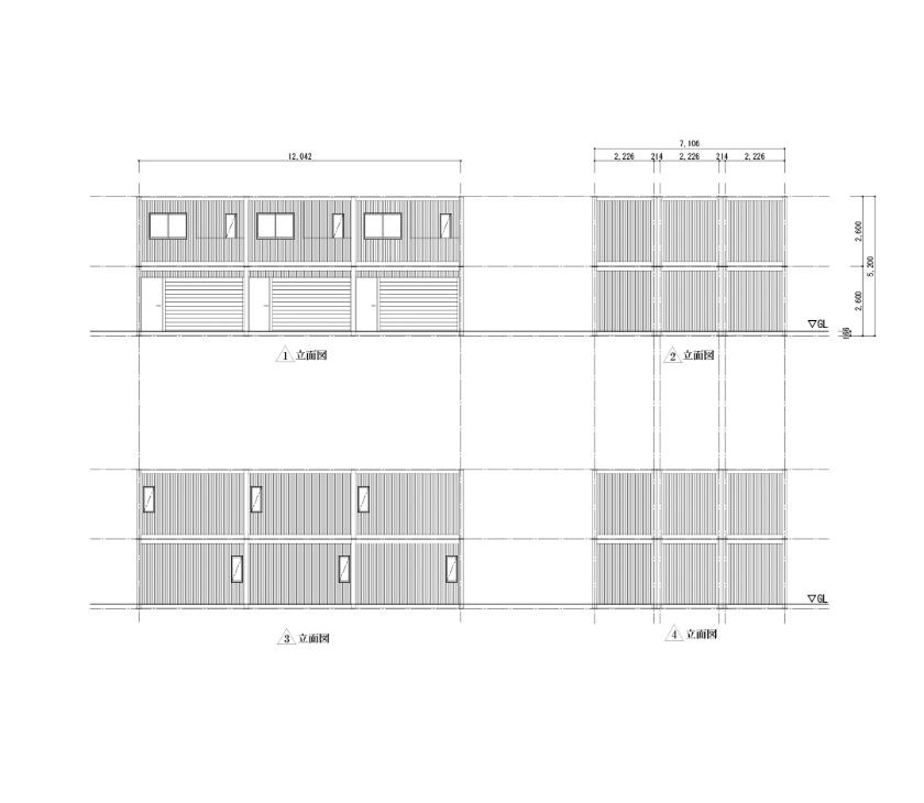 40ft3列タイプの立面図